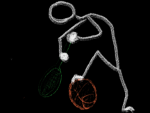 A chalk figure swings a tennis racket like a golf club toward a basketball on the ground.
